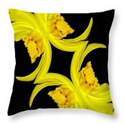 Delightful Daffodil Abstract Throw Pillow