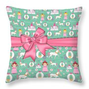 Delightful Princessess Throw Pillow by Debra  Miller