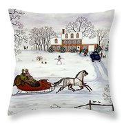Delivering Gifts Throw Pillow