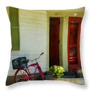 Delivery Bicycle By Two Red Doors Throw Pillow