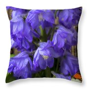 Delphinium And Butterfly Throw Pillow