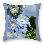 Delphinium With Cloud Throw Pillow