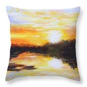 Delta Bayou Sunset Throw Pillow