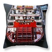 Delta Queen In Christmas Snow Throw Pillow by Tom and Pat Cory
