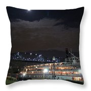 Delta Queen Under A Full Moon Throw Pillow by Kathy  White