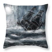 Deluged By The Wave Throw Pillow