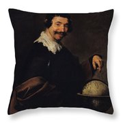 Democritus, Or The Man With A Globe Oil On Canvas Throw Pillow