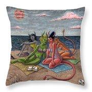 Demon Beaches Throw Pillow