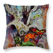 Demon Cats Haunted Throw Pillow