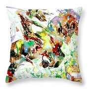 Demon Riding A Horse Rearing Up In Front Of A Two Headed Monk Throw Pillow