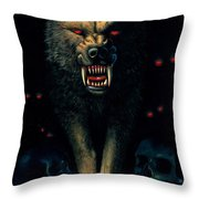 Demon Wolf Throw Pillow