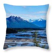 Denali Mountain Range Throw Pillow