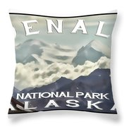 Denali Postage Stamp  Throw Pillow