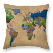 Denim Map Of The World Jeans Texture On Worn Canvas Paper Throw Pillow
