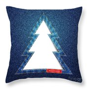 Denim Tree Cutout Throw Pillow