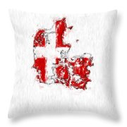 Denmark Painted Flag Map Throw Pillow