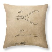 Dental Pliers Patent Design Throw Pillow