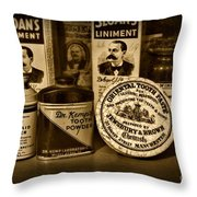 Dentist  -  Tooth Powder And More In Black And White Throw Pillow