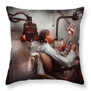 Dentist - Waiting For The Dentist Throw Pillow by Mike Savad