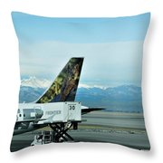 Denver Airport With Rockies In Background Throw Pillow