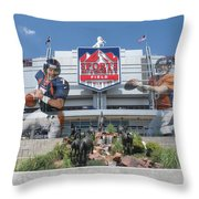 Denver Broncos Sports Authority Field Throw Pillow by Joe Hamilton