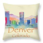 Denver Colorado Skyline II Throw Pillow