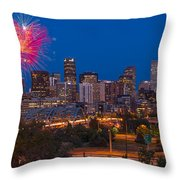 Denver Skyline Fireworks Throw Pillow