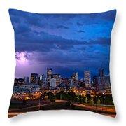 Denver Skyline Throw Pillow by John K Sampson