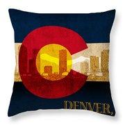 Denver Skyline Silhouette Of Colorado State Flag Canvas Throw Pillow