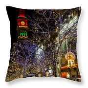 Denver's 16th Street Mall During Holidays Throw Pillow