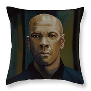 Denzel Washington In The Equalizer Painting Throw Pillow