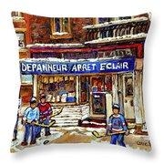 Depanneur Arret Eclair Verdun Rue Wellington Montreal Paintings Original Hockey Art Sale Commissions Throw Pillow