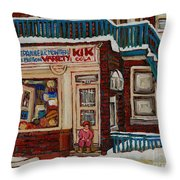 Depanneur Kik Cola Montreal Throw Pillow