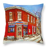 Depanneur Surplus De Pain Point St Charles Montreal Winterscene Paintings Cspandau Originals Prints  Throw Pillow