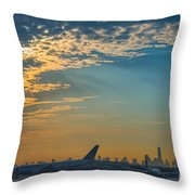 Departing From Ewr  Throw Pillow