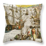 Departure From Lisbon For Brazil Throw Pillow by Theodore de Bry