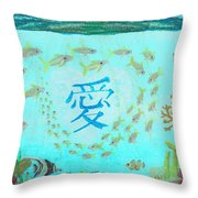 Depiction Of The Ocean With A School Of Fish Swimming Around A Heart Containing The Kanji Ai Meaning Throw Pillow