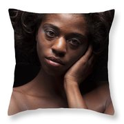 Chynna African American Nude Girl In Sexy Sensual Photograph And In Color 4787.02 Throw Pillow
