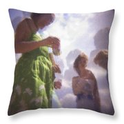 Derby People 1 Pastel Chalk 2 Throw Pillow