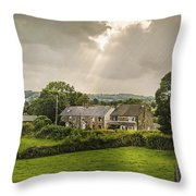 Derbyshire Cottages Throw Pillow by Amanda Elwell