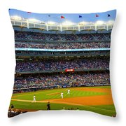 Derek Jeter Leads The Way As The Yankees Take The Field Throw Pillow