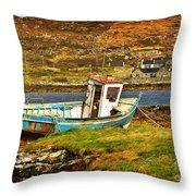 Derelict Fishing Boat On The Irish Coast Throw Pillow