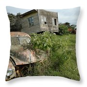 Derelict Morris And Old Truck On An Abandoned Farm Throw Pillow