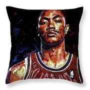 Derrick Rose-2 Throw Pillow by Maria Arango