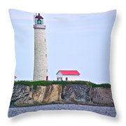 Des-rosiers Lighthouse Is Canada's Tallest In Forillon Np-qc Throw Pillow