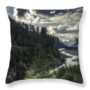Desaturated Mountainscape Throw Pillow
