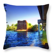 Deschutes Bridge  Anderson Ca  Watercolor   Throw Pillow