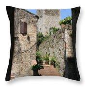 Desert Alley In San Gimignano Throw Pillow