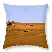 Desert Camels Throw Pillow
