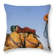 Desert Dance Of The Dromedary And The Camel Driver Throw Pillow